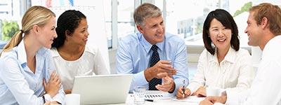 Meeting between diverse businesspeople