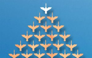 A graphic of geese flying in formation, demonstrating the benefits of organizing yourself and others