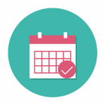 A calendar icon in purple and blue